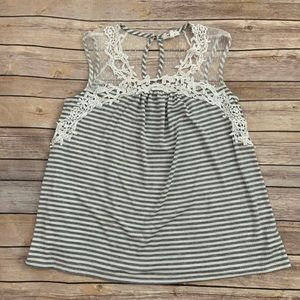 Maurices Gray Striped Tank Top